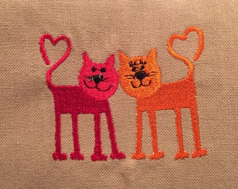 Embroidered Love Cats Dish Towel / Tea Towel