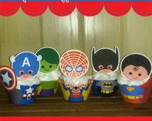 Printable Digital PDF File - Cupcake Wrappers Superhero Baby Boys Set 1.2 African American Sun Kissed Skin Tanned Skin