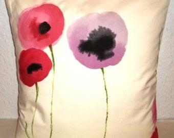 "Sanderson POPPIES fabric cushion cover, pillow cover, 16"" x 16"" (41cm x 41cm)"