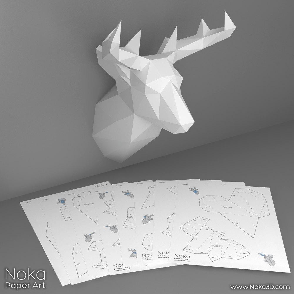 deer head trophy 3d papercraft model downloadable diy. Black Bedroom Furniture Sets. Home Design Ideas