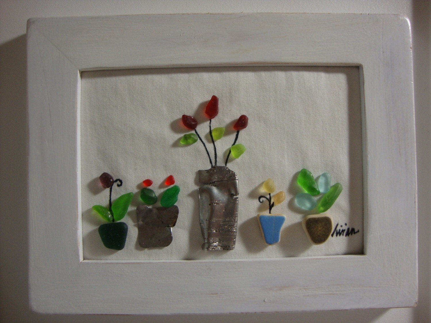 Lime Green Bathroom Ideas Sea Glass Art Flower Pots Roses Genuine Surf Tumbled