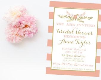 Pink and Gold Wedding Shower Invitation - Modern Wedding Shower Invitation - Printable Invitation