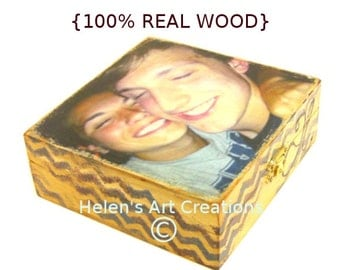 Custom Photo Keepsake Box. Personalized Photo Box, Wedding Box, Gift Box, Aniversary, Picture Box, Keepsake Box