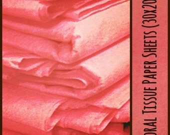 20 Coral Tissue Paper Sheets Satin Wrap Gift Wrapping 30 x 20 inches