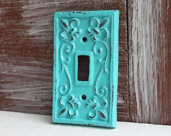 Light Switch Cover, Single Light Switch Plate, Switchplate Cover, Aquamarine Blue Cast Iron Metal Lightswitch cover plate wall decor