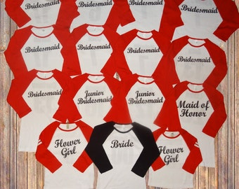 Bachelorette Party Shirts Team Bride Bridal Wedding Personalized 3 4 Sleeve Baseball Tee