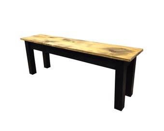 Barnwood Bench-Black  / Rustic Bench / Farmhouse Bench / Reclaimed wood bench