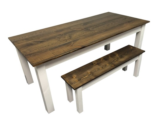 Farmhouse table walnut top white base for 65 farmhouse table
