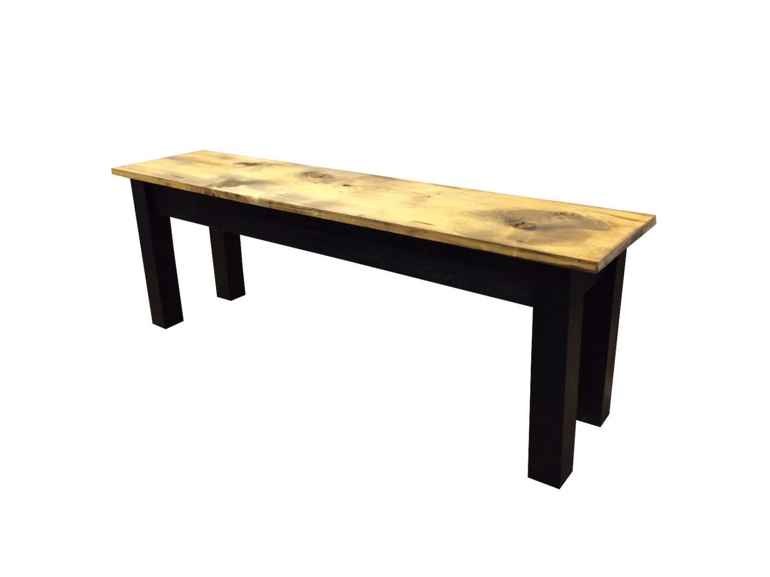 Barnwood Bench Black Rustic Bench Farmhouse Bench