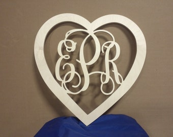 Connected Vine Monograms with Heart border