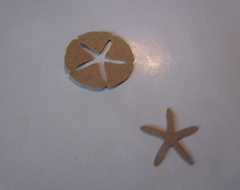 tiny star fish and sand dollar die cuts