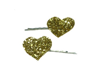 Heart hair clip, sparkly hair clip, Heart hair clips, heart bobby pins, glitter hearts, glitter heart bobby pins, kawaii bobby pins