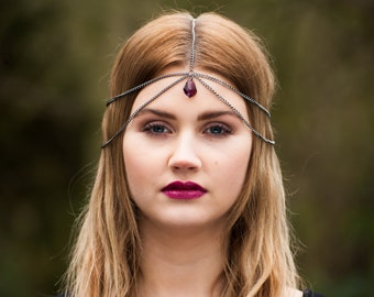 Head Chain, Chain Headdress, Chain Headpiece, Crystal Headchain, Swarovski Crystal, Gunmetal Head chain, Bohemian Headchain, Boho Headchain