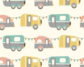 "Certified Organic Cotton by Pillobebe - Camping, Cars - 57/58"" Wide, Fat Quarter, Half Yard, One Yard"