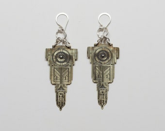 Small brass Etched Tribune Statement Earrings