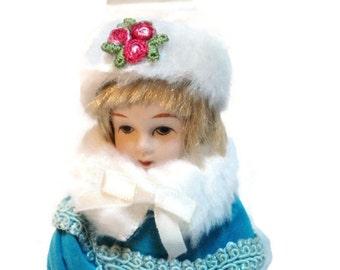 Vintage German Bisque Dollhouse Doll Bisque Head Feet Cloth Body