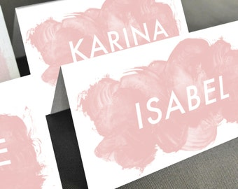 Personalized Printable Place Cards Placecards Name Cards Pink Watercolor Paint Brush Customizable