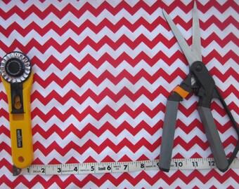 Red and White Chevron Fabric 1 yard