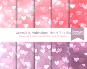 50% OFF Seamless Valentine Heart Bokeh Digital Paper Set - Personal & Commercial Use