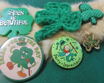 Vintage Lot St Patrick's Day pinbacks, pins,buttons lot of 6