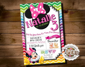 Rainbow CHEVRON MINNIE MOUSE Birthday Invitation, Minnie Mouse Party Ideas, Minnie Invitation, Pink Frosting Paperie