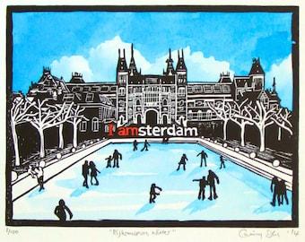 Winter Rijksmuseum art, handmade original lino print with painting, Amsterdam winter scene with skaters. Mounted, unframed.