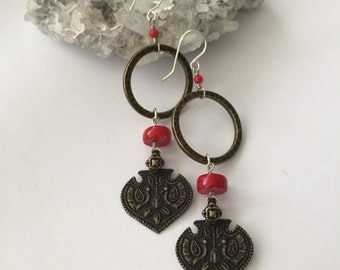Brass and Coral Drop Earrings