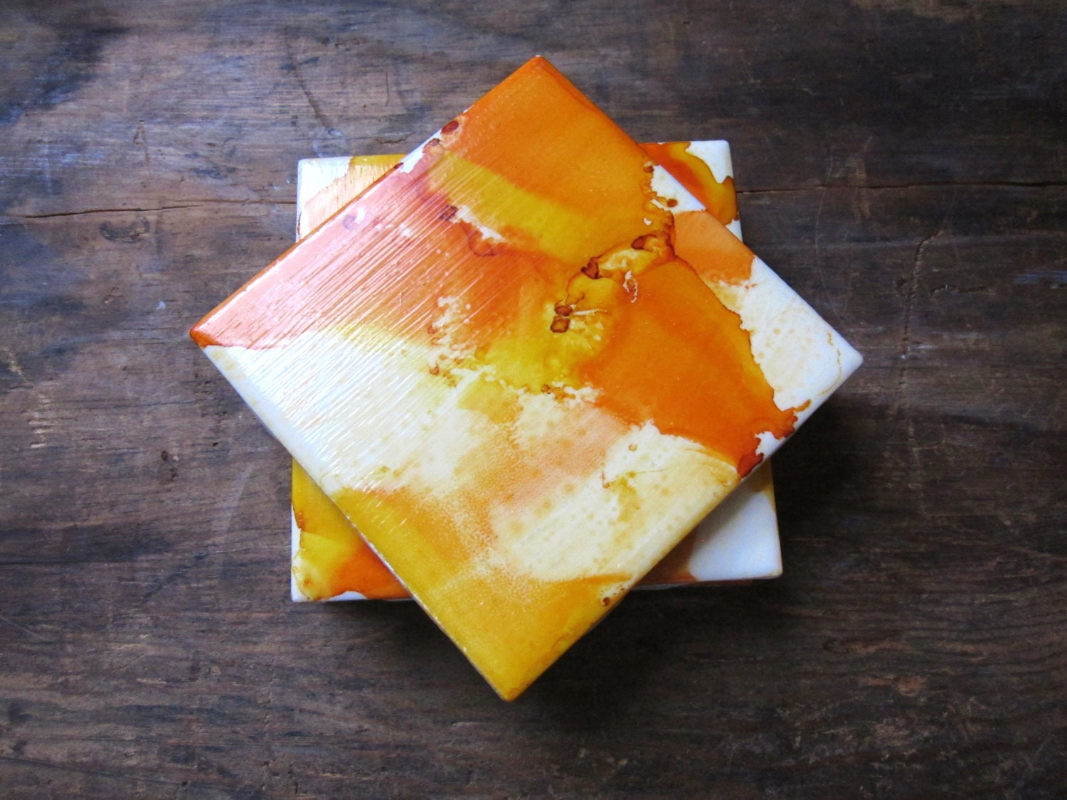 Orange And Yellow Unique Coasters Drink Coasters Tile