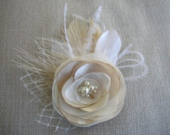 Ivory Champagne Hair Flower Clip, Feather Hairpiece, Bridal Fascinator, Wedding Headpiece, Feather Hair Clip, BridalHair Accessories