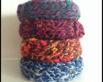 Knit bracelet set of 4 - 4 knitted bangles - choose from mixed set or all the same colour - wool bangle - woollen cuff - one size fits most