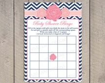 Roses Baby Shower Bingo Card, INSTANT DOWNLOAD, Pink and Navy, Girl Baby Shower Game, Flowers, Chevron, Printable Bingo Card, As Is  - 035
