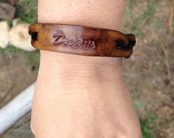 "Braided leather ""Dream"" bracelet Bison Brown"