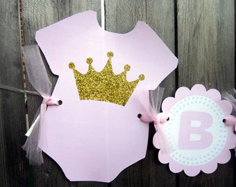 Princess Baby Shower Banner, Princess Birthday Banner, Pink and Gold Banner - Crown Onesie - Item 72516934P