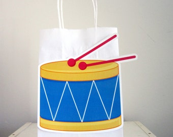 Toy Drum Birthday, Music Birthday, Rock Star Birthday Party Favor, Goody, Gift Bags
