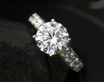 Bianca -FB Moissanite Engagement Ring in White Gold, Round Brilliant Cut, 4 Prong Basket Setting, Pave Channel Design, Free Shipping