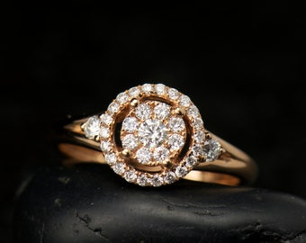 Mackenzie, Diamond Fashion Ring in 18k Rose Gold, Round Brilliant Cut, Cluster Design with Halo, Engagement or Fashion Ring, Free Shipping