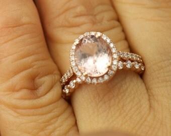 Maria B and Brooke 2 Set - Morganite Engagement Ring and Diamond Wedding Band in Rose Gold, Halo, Single Shared Prong, Free Shipping