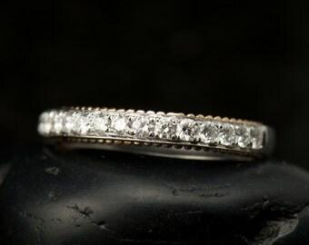 Chelsea - Diamond Wedding Band in 18k White & Rose Gold, Round Brilliant Cut, Split Prong Setting and Milgrain, 1/2 Eternity, Free Shipping