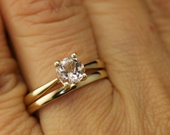 Talia & Kelsie Set - Morganite Solitaire Engagement Ring in Yellow Gold and 2mm Yellow Gold Domed Wedding Band, Free Shipping