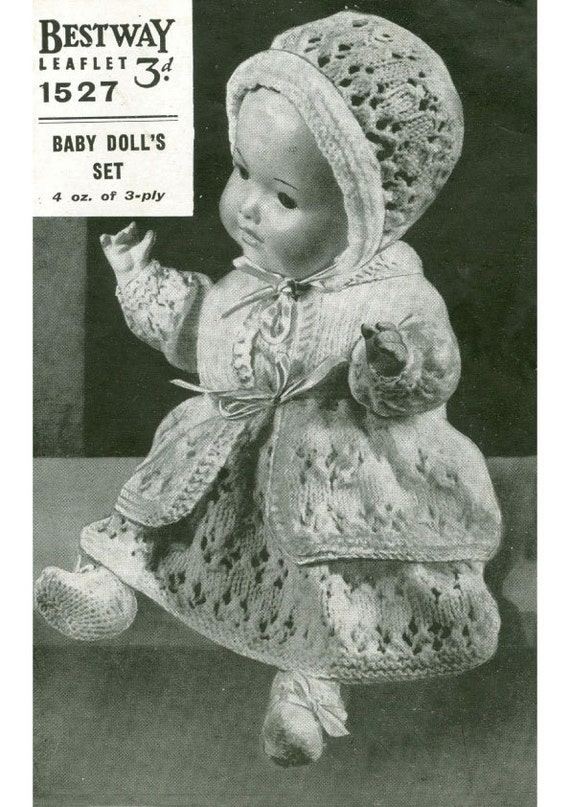 A vintage knitting pattern to fit a 15 inch Baby Doll. From