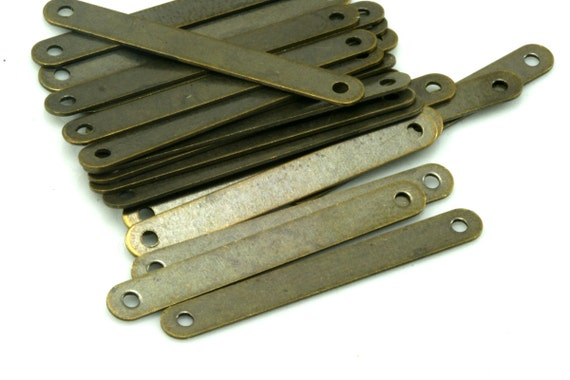 100 pcs 4x33 mm Antique brass rectangle tag 2 hole connector, thickness 25 gauge  0,5 mm charms ,findings 342ABD-50