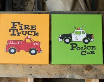 Fire Truck & Police Car Canvas Kid Art SET OF 2