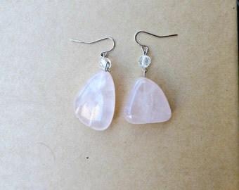 Rose Quartz Stone Earrings, Pink Stone Dangle Earrings, Rose Quartz Dangle Earrings, Pink Stone Earrings, Pink Dangle Earrings, Rose Quartz