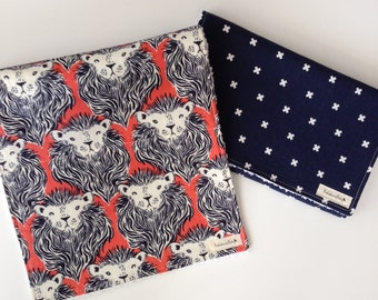 NEW! Burp Cloth Set-Lions in Navy and Orange