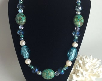 Mosaic magnesite necklace