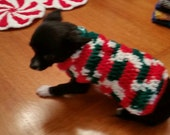 Extra Small  XS crocheted dog holiday / Christmas sweater