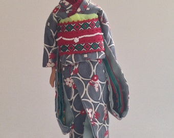 Japanese style Barbie - gray and red plum