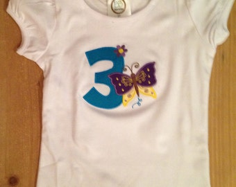 Turquoise, Purple, and Yellow Butterfly Birthday Shirt