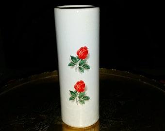 Vintage McCoy Porcelain Ceramic Bud Vase With Rose Detail