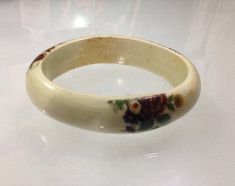 Vintage Porcelain and Enamel Floral Bangle Bracelet